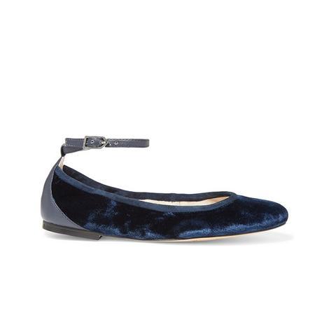 Fynn Suede and Leather-Trimmed Velvet Ballet Flats