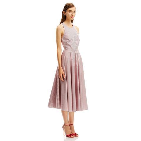 Striped X-Back Dress
