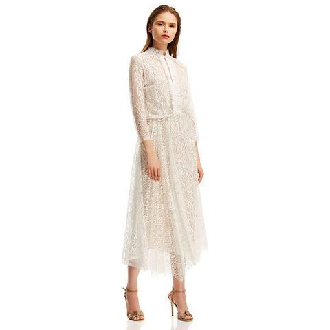 Lace Pleat Dress