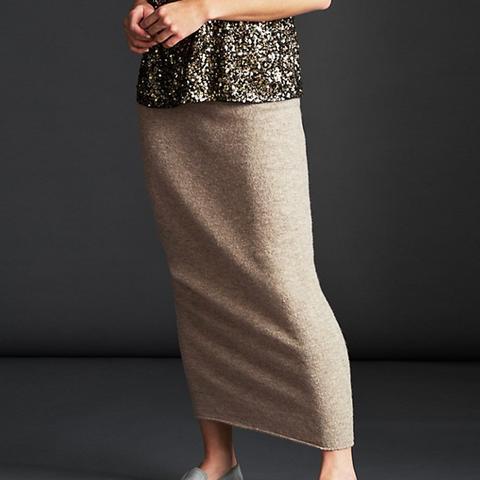 Long Knitted Waist Skirt