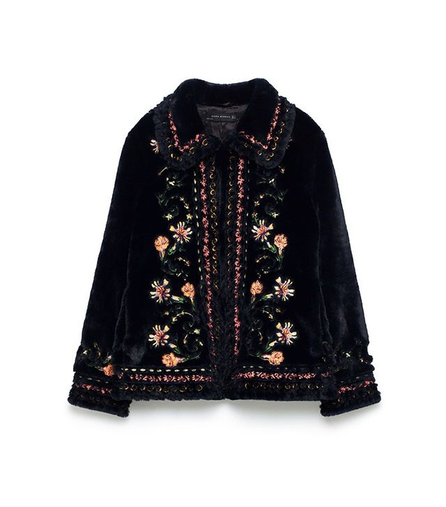 Zara Embroidered Faux Fur Jacket