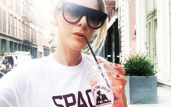 """""""Taking in some much-needed fuel for a busy (and hot!) day of fittings, hair and make-up, and other preparations for what's to come. Talk about silence before the storm…"""""""