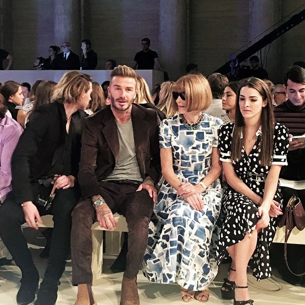 """""""Super excited to attend one of my favourite designer's shows today. I absolutely adore the clean and cool setting Victoria Beckham selected for showing her latest designs, and my front row view..."""