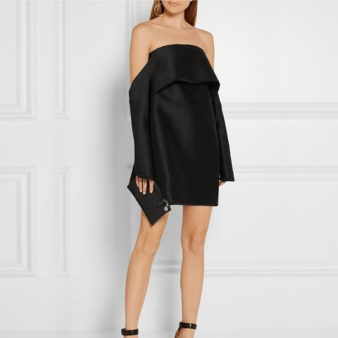 Off-the-Shoulder Wool-Blend Shantung Mini Dress