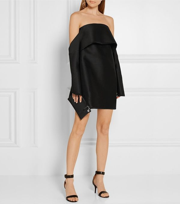 Dion Lee Off-the-Shoulder Wool-Blend Shantung Mini Dress