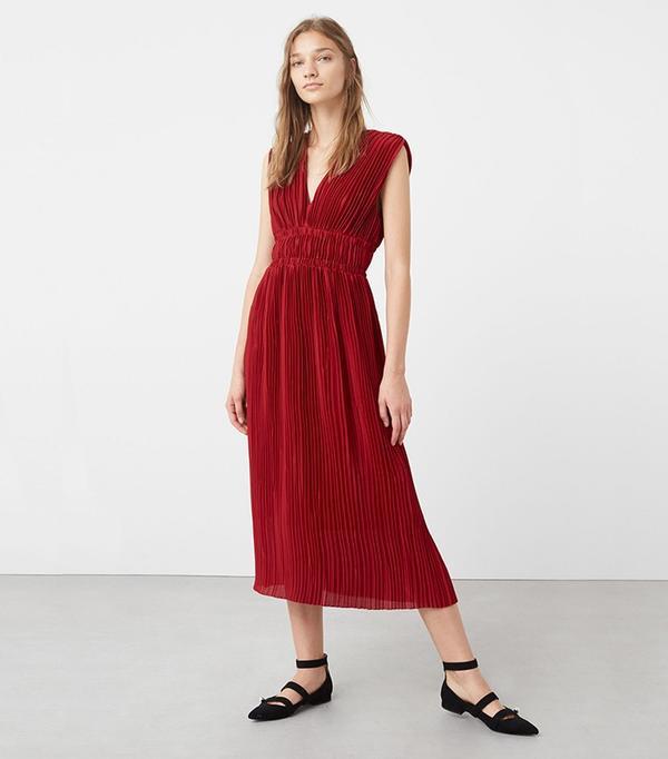 Mango Velvet Pleated Dress