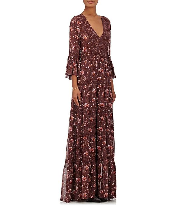 Ulla Johnson Adalie Embroidered Georgette Maxi Dress