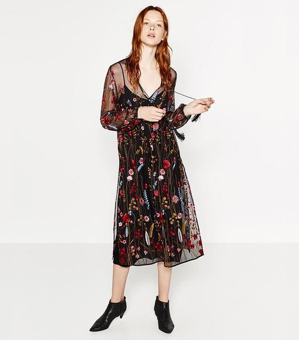 Zara Long Embroidered Dress