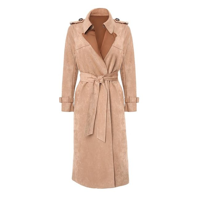 bebe Faux Suede Long Trench