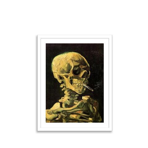 Van Gogh Skull With Burning Cigarette Print