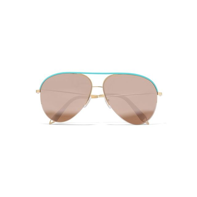 Victoria Beckham Classic Victoria Aviator-Style Gold-Tone and Leather Mirrored Sunglasses