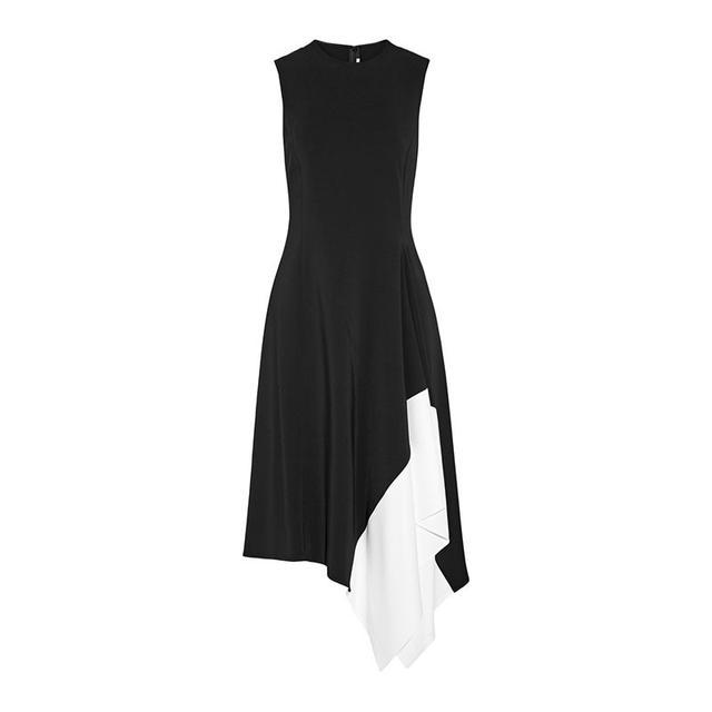 Rosetta Getty Asymmetric Two-Tone Stretch-Cady Dress
