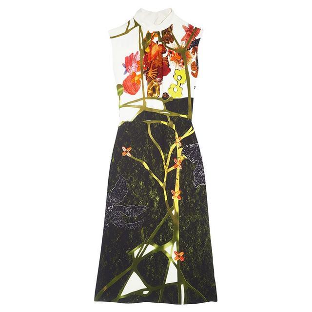 Prada Printed Crepe Midi Dress