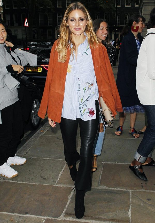 WHO: Olivia Palermo WHAT: Out and about in London during London Fashion Week WEAR:Zara shirt.