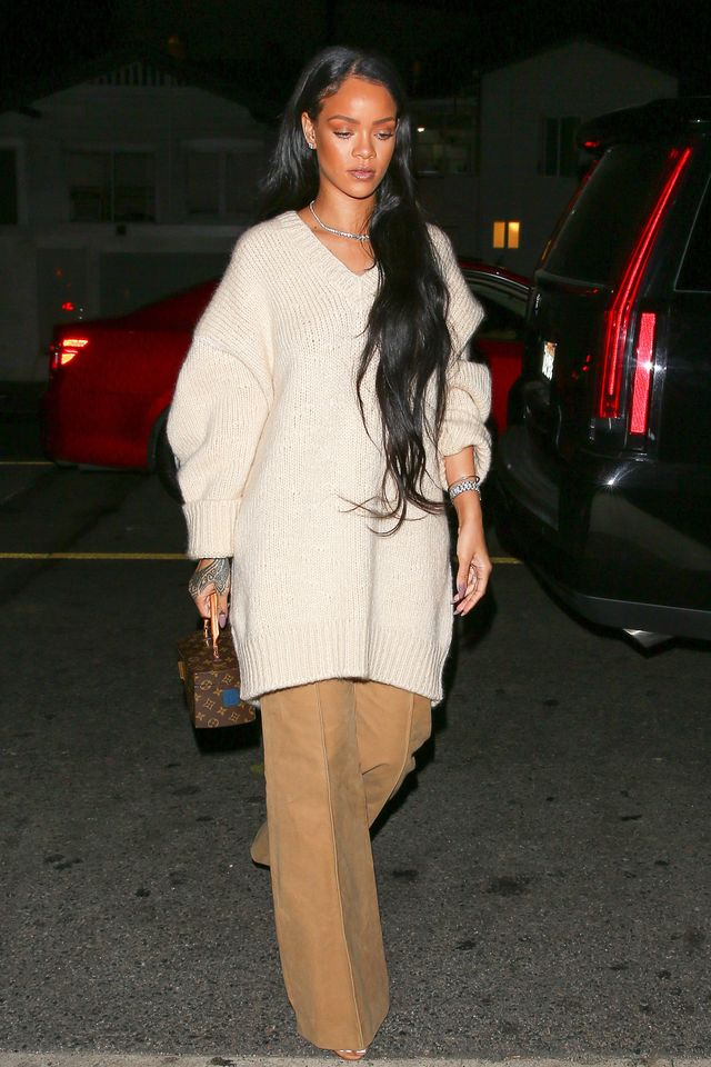 On Rihanna:Louis Vuitton x Frank Gehry Twisted Box Bag.