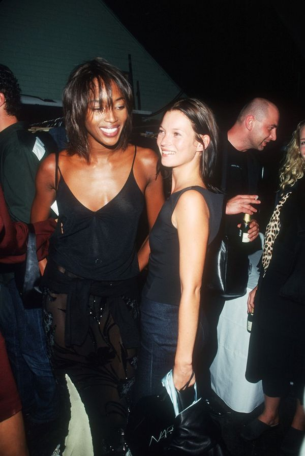 Naomi Campbell and Kate Moss backstage fashion show