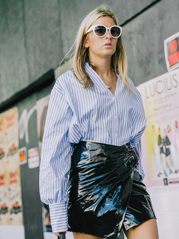 Wear Them With: Striped button-down shirt + patent leather skirt