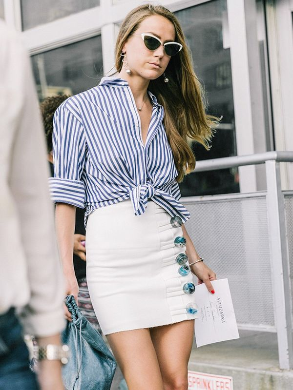 Wear Them With: Tied top and statement skirt