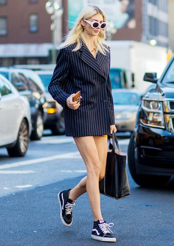 Wear Them With: Pinstripe blazer + sneakers