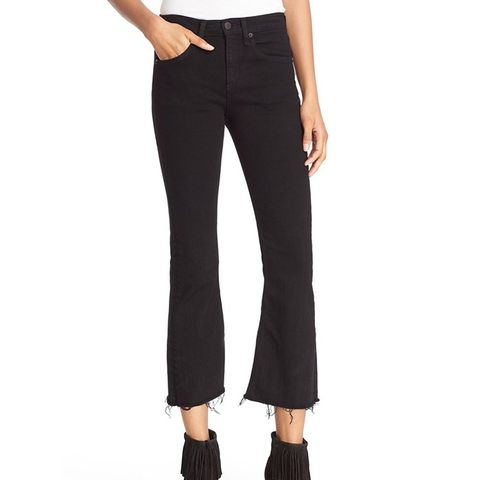 High Rise Raw Edge Crop Flare Jeans