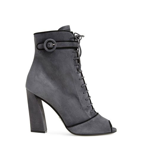 Lace-Up Peep Toe Bootie
