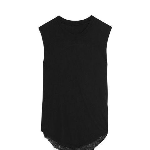 Draped-Back Distressed Cotton-Blend Jersey Tank