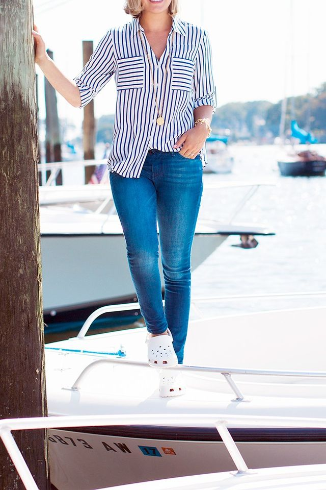Like Dzafic, pair your Crocs with skinny jeans and a striped button-down for a fresh off-duty look.