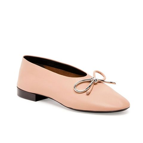 Leather Bow Ballerina Flat