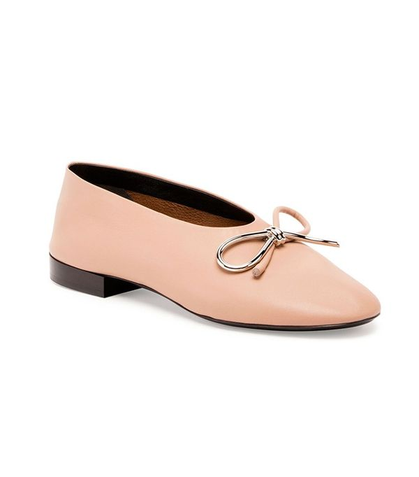 Balenciaga Leather Bow Ballerina Flat