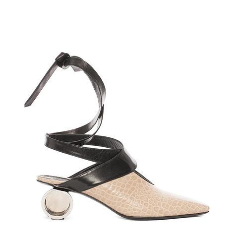 Nude Cylinder Heel Ballet Shoes