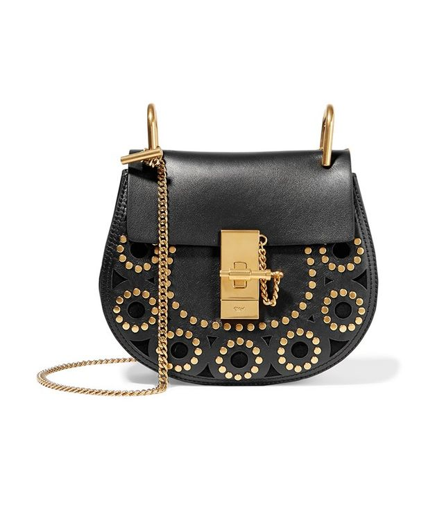 Chloé Drew Mini Studded Leather and Suede Shoulder Bag