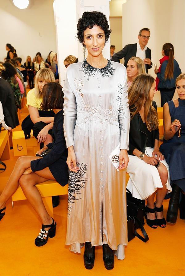 WHO:Yasmin Sewell WHAT: Emilia Wickstead S/S 17 show WEAR: J.W. Anderson dress; Paco Rabanne bag.