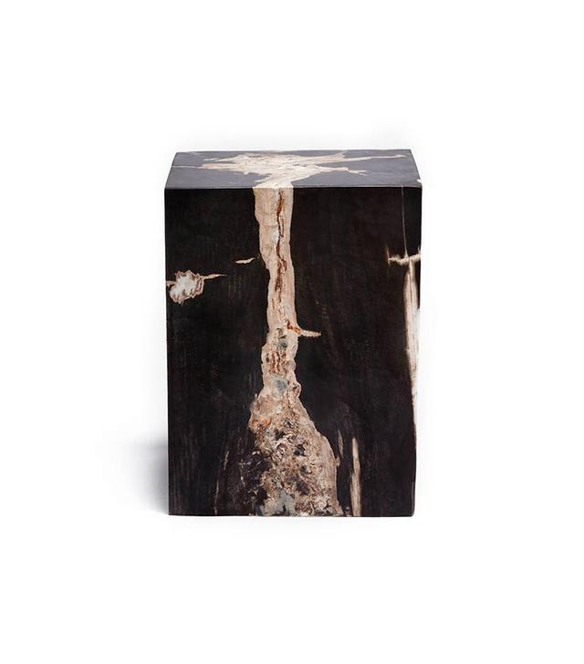 The Line Petrified Wood Block Stool