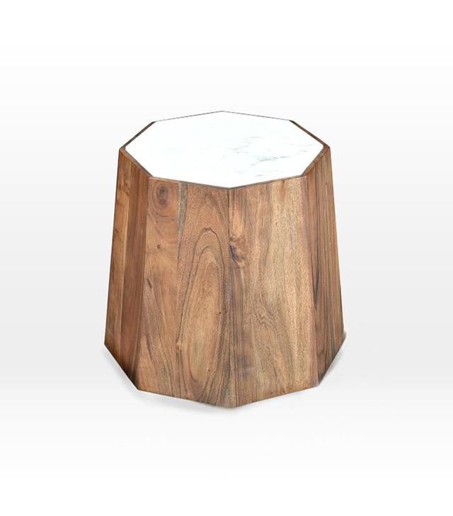 West Elm Marble + Wood Geo Side Table