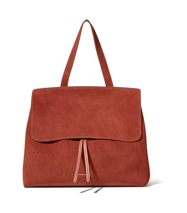 Mansur Gavriel Lady Leather-Trimmed Suede Tote