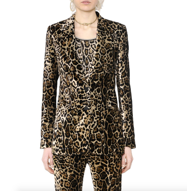 Roberto Cavalli Leopard Printed Velvet Jacket