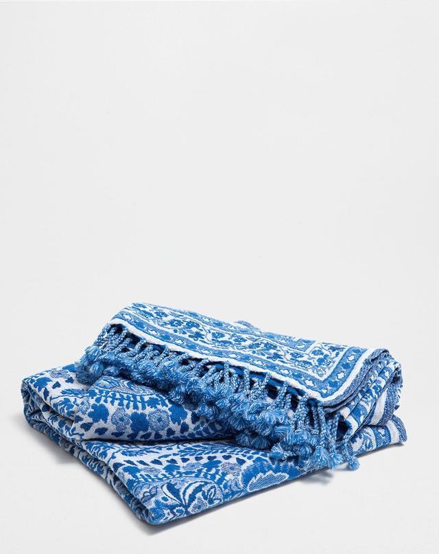 Zara Home Blue Paisley Wool Blanket