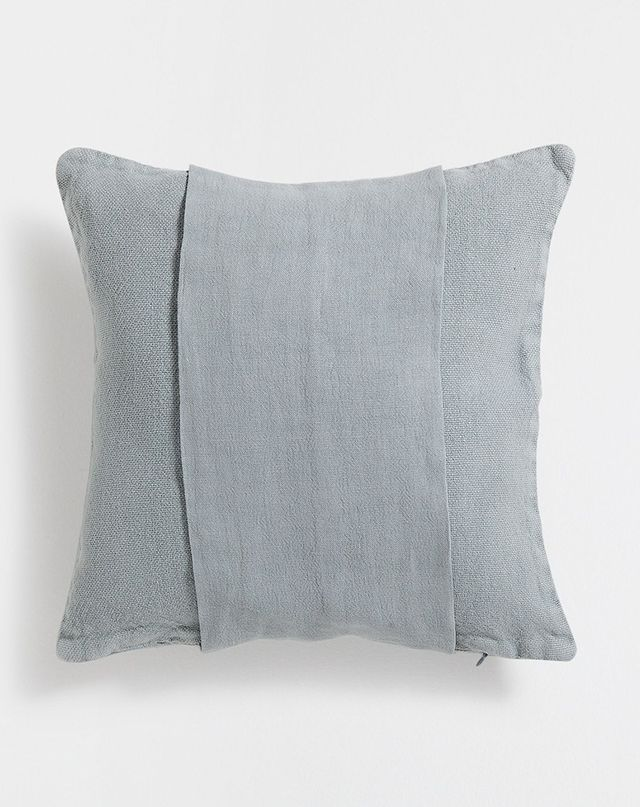 Zara Home Green Banded Linen Cushion Cover