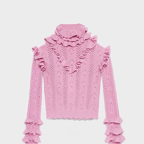 Wool Knit Ruffle Top