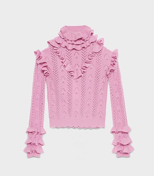 Gucci Wool Knit Ruffle Top