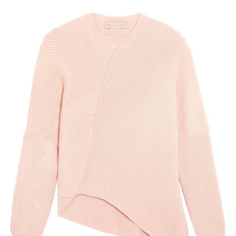 Asymmetric Ribbed Wool Sweater