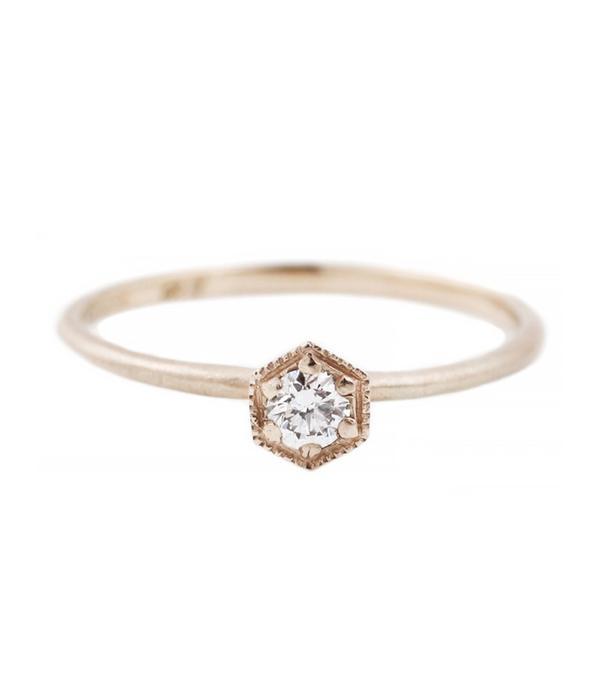 Satomi Kawakita White Gold Hexagon Ring