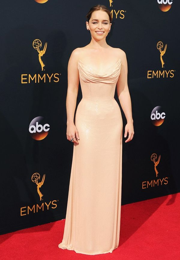 WHO:Emilia Clarke WHAT: Nominee for Outstanding Supporting Actress in a Drama Series, Game of Thrones WEAR: Atelier Versace.