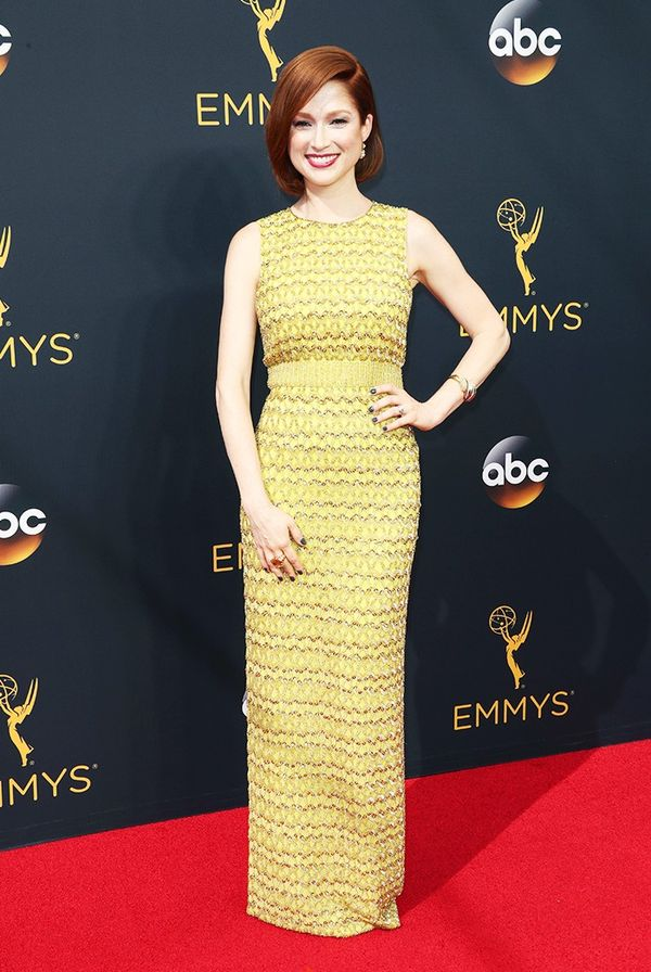 WHO: Ellie Kemper WHAT: Nominee, Lead Actress in a Comedy Series, Unbreakable Kimmy Schmidt WEAR: Jenny Packham citrine crystal- and sequin-embellished full-length gown; Neil Lane diamond and...