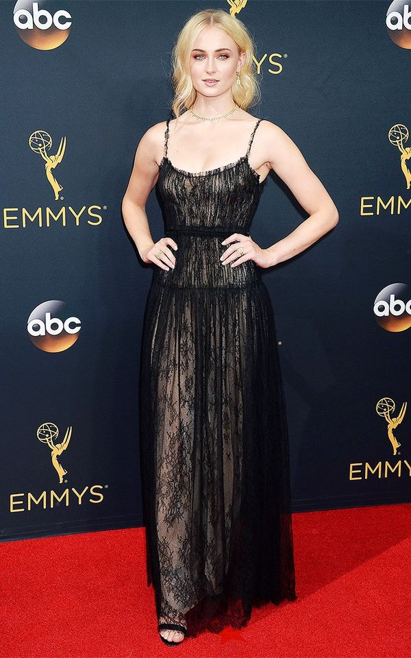 WHO: Sophie Turner WHAT: Actress, Game of Thrones WEAR: Valentino dress; Forevermark jewelry; Christian Louboutin shoes.
