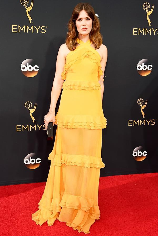 WHO: Mandy Moore WHAT: Actress WEAR: Prabal Gurung dress; Jimmy Choo box clutch.