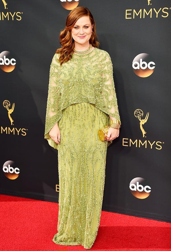 WHO:Amy Poehler WHAT: Actress WEAR: Jimmy Choo Mini Charm Clutch.