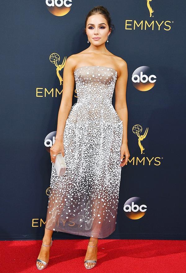 WHO:Olivia Culpo WHAT: Actress WEAR: Zac Posen dress.