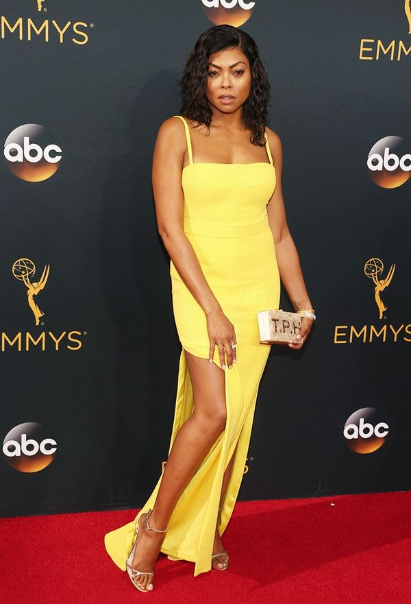 WHO: Taraji P. Henson WHAT: Nominee, Outstanding Lead Actress in a Drama Series, Empire WEAR: Bespoke Edie Parker 'T.P.H' clutch; Jimmy Choo Molly sandals.