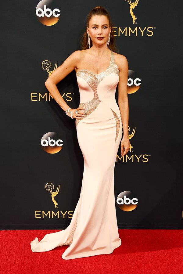 WHO:Sofia Vergara WHAT: Actress, Modern Family WEAR: Versace dress.